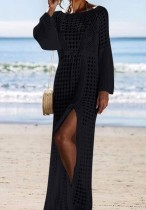 Long Sleeves Crochet Long Beach Dress