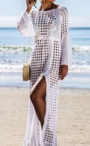 Uzun kollu tığ işi uzun plaj elbisesi