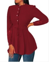 Fit-and-Flare Long Sleeves Pleated Blouse