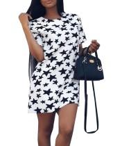 Stars Printed Kurzarm Lässige Kleidung