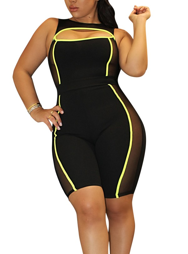Sleeveless Cut Out Sexy Mid Jumpsuit