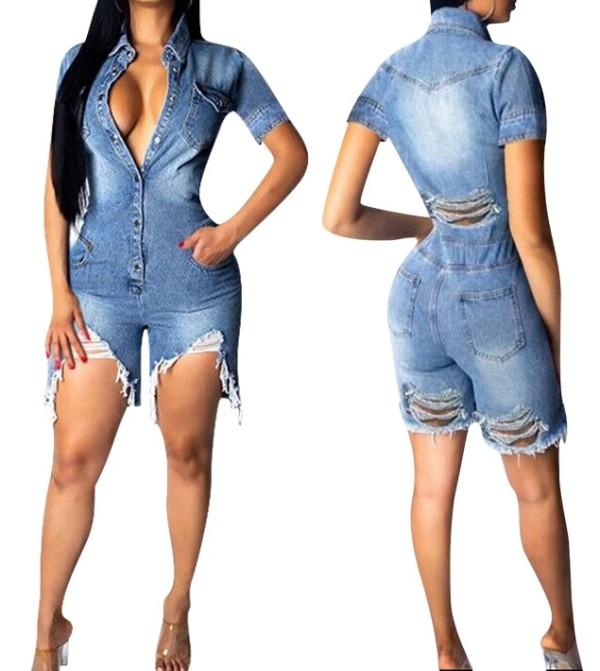 Short Sleeve Jeans Jumpsuit