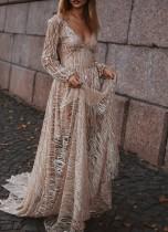 Manches longues col en V longue robe de soirée maxi