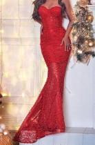 Robe de soirée sans manches couleur rouge