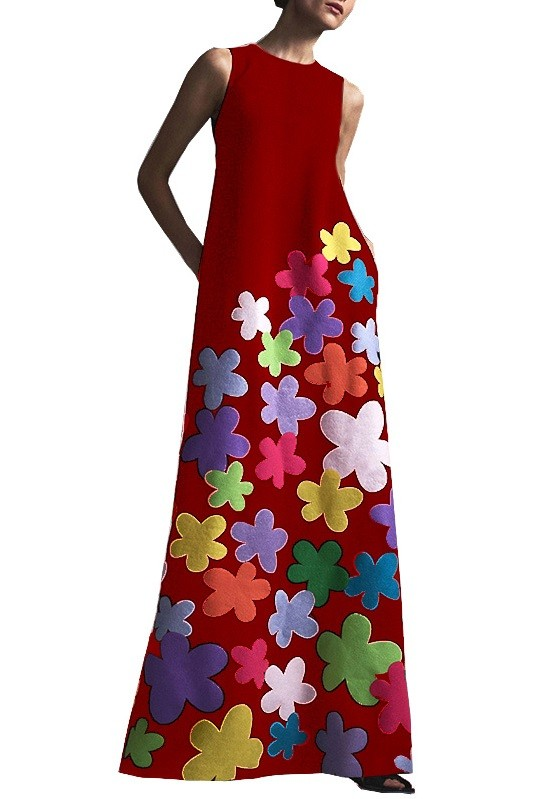 Vestido largo floral sin mangas