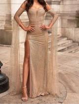 Manches longues élégante robe de soirée fendue sur le côté