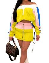 Falda corta con contraste en el hombro y falda a juego