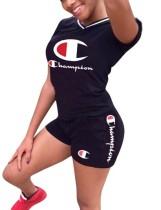 Sports Short Sleeves Print Shirt and Shorts