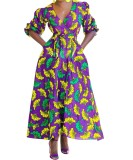 Vestido Maxi envuelto en África con mangas Pop