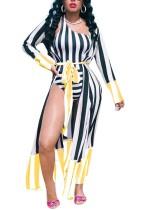 One-Shoulder Stripped Badeanzug mit Überzieher