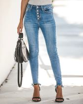 Jeans azules de cintura alta que se lavan
