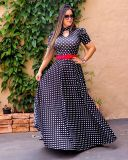 Short Sleeves Polka Maxi Dress