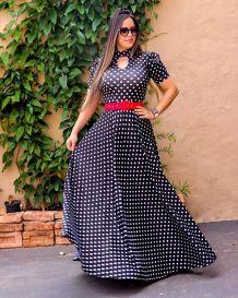 Maxi robe polka à manches courtes