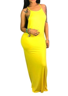 Plain Color Straps Long Dress