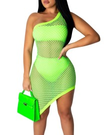 Sexy Fishnet One Shoulder Club Dress