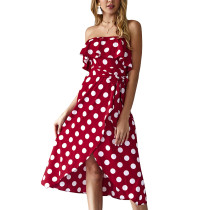 Trägerloses Polka eingewickeltes langes Kleid