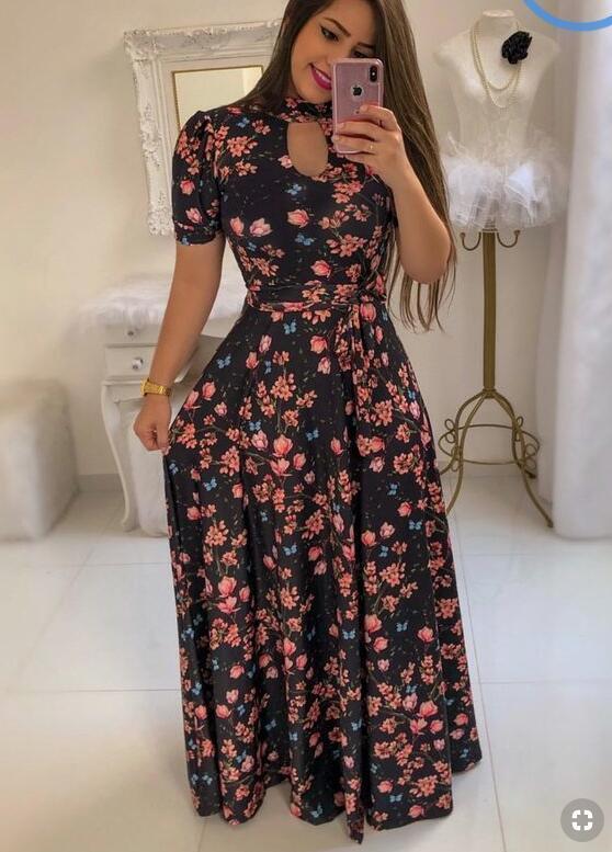 Short Sleeves Floral Maxi Dress