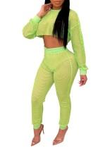 Crop top et pantalon en résille sexy