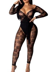 Print Sexy Long Sleeve Mesh Jumpsuit