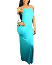 Effen kleur bandjes lange jurk