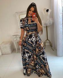 Платье макси с короткими рукавами и цветочным принтом