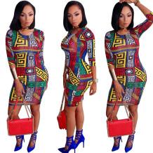 Robe moulante imprimée africaine avec demi-manches