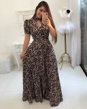 Mangas curtas leopard maxi dress