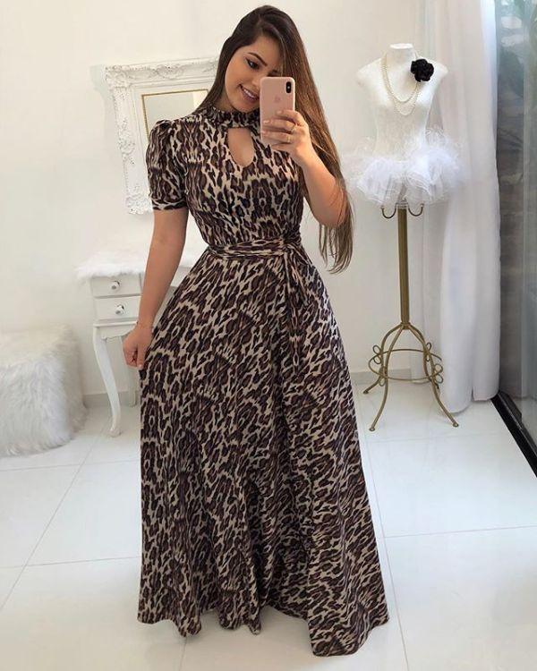 Short Sleeves Leopard Maxi Dress