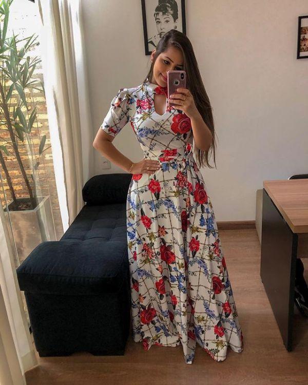 Maxi-jurk met korte mouwen en bloemen