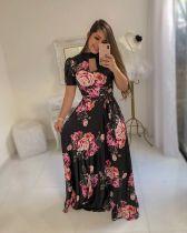 Vestido maxi floral de manga corta