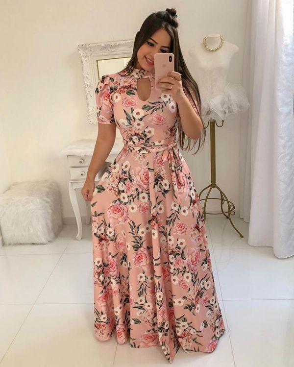 Mangas curtas floral vestido maxi