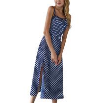 Askılı Polka Uzun Bölmeli Elbise