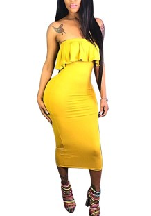Plain Color Strapless Bodycon Dress