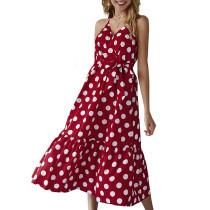 Kayışlar polka uzun resort elbise