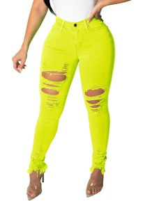 Sexy Curvy Neon Ripped Jeans