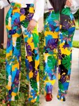 Pantalones largos de cintura alta floral