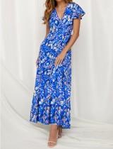 Vestido maxi floral de manga corta con cuello en v