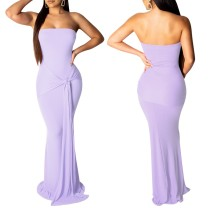 Plain Color Strapless Maxi Dress