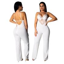 Plain Color Sexy Jumpsuit with Lace Bra Top