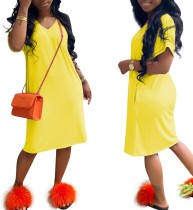 Einfarbig kurzarm casual dress