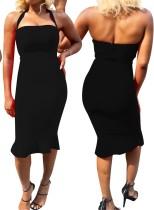 Einfarbig Neckholder Slim Fit Kleid