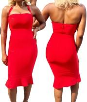 Düz Renk Halter Yaka Slim Fit Elbise