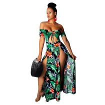 Vestido largo floral con hombros descubiertos y abertura delantera