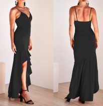 Plain Color Front Short and Back Long Dress