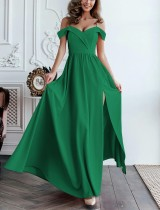 Plain Color Off Shoulder Maxi Dress with Side Split