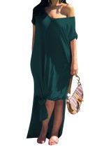 Korte mouwen v-hals pure lange jurk