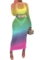 Vestido de manga larga de malla de colores sexy