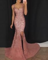 Vestido de noche sin mangas con lentejuelas sirena rosa