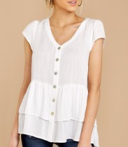 Weiße, kurzärmlige Shirts mit V-Ausschnitt