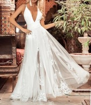 White Halter Mesh Evening Dress